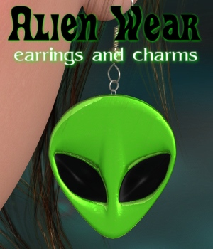 Alien Wear Earrings_V4_Poser 3D Figure Assets JudibugDesigns