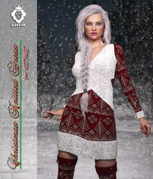 JMR Christmas Knitted Dress for G3F or G8F 3D Figure Assets JaMaRe