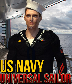 US Navy for Universal Sailor 3D Figure Assets Cybertenko