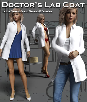 Doctor's Lab Coat for Gen 3 & Gen 8 Females 3D Figure Assets 3D Models RPublishing