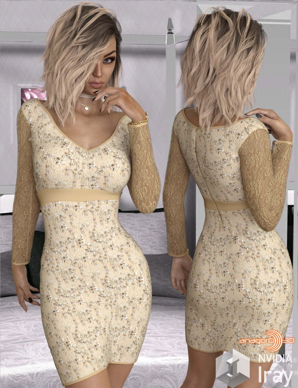 VERSUS - Long Sleeve Lace Dress for Genesis 8 Females