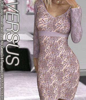 VERSUS - Long Sleeve Lace Dress for Genesis 8 Females 3D Figure Assets Anagord