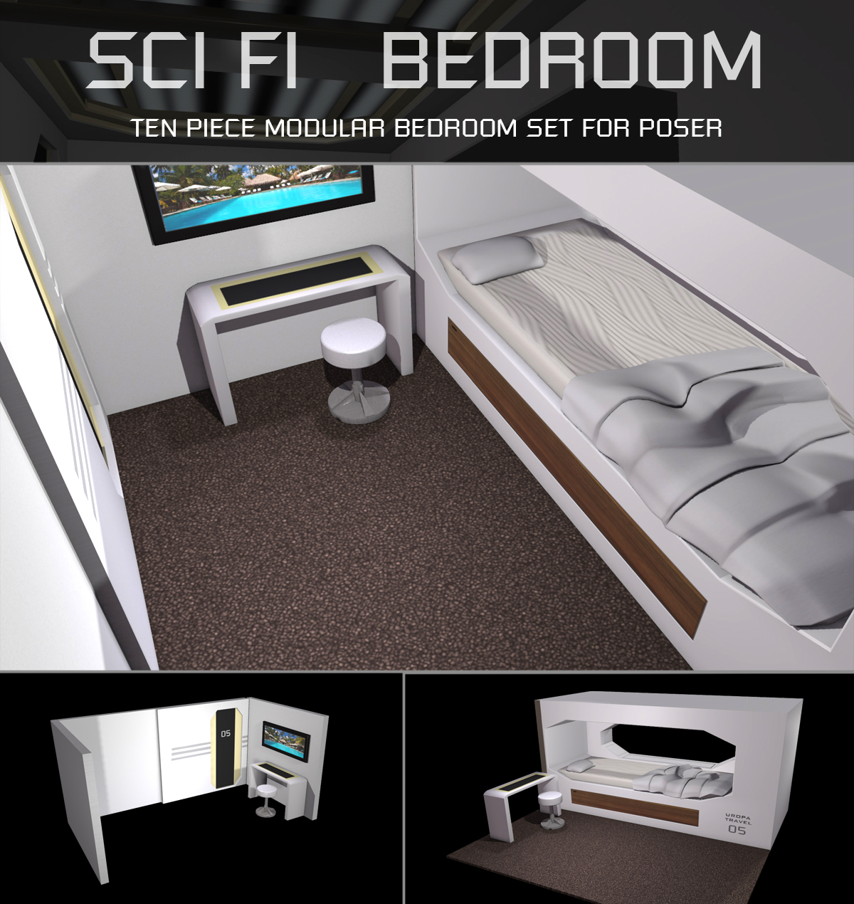 Sci Fi Bedroom for Poser by shawnaloroc