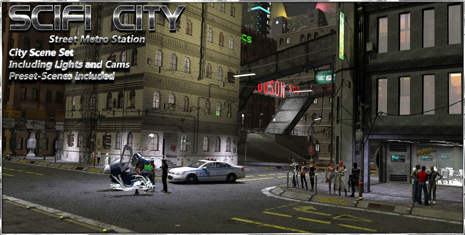 SciFi City Street Metro Scene by 3-D-C