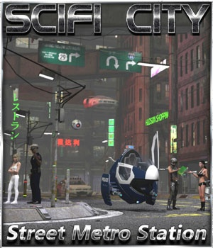 SciFi City Street Metro Scene by 3-D-C 3D Models 3-d-c