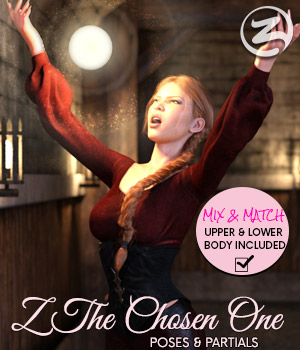Z The Chosen One - Poses and Partials for the Genesis 8 Females 3D Figure Assets Zeddicuss