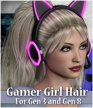 Gamer Girl Hair Gen 3 and Gen 8 Females 3D Figure Assets RPublishing