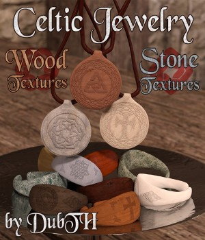 Wood and Stone Textures for Celtic Jewelry 3D Figure Assets DubTH