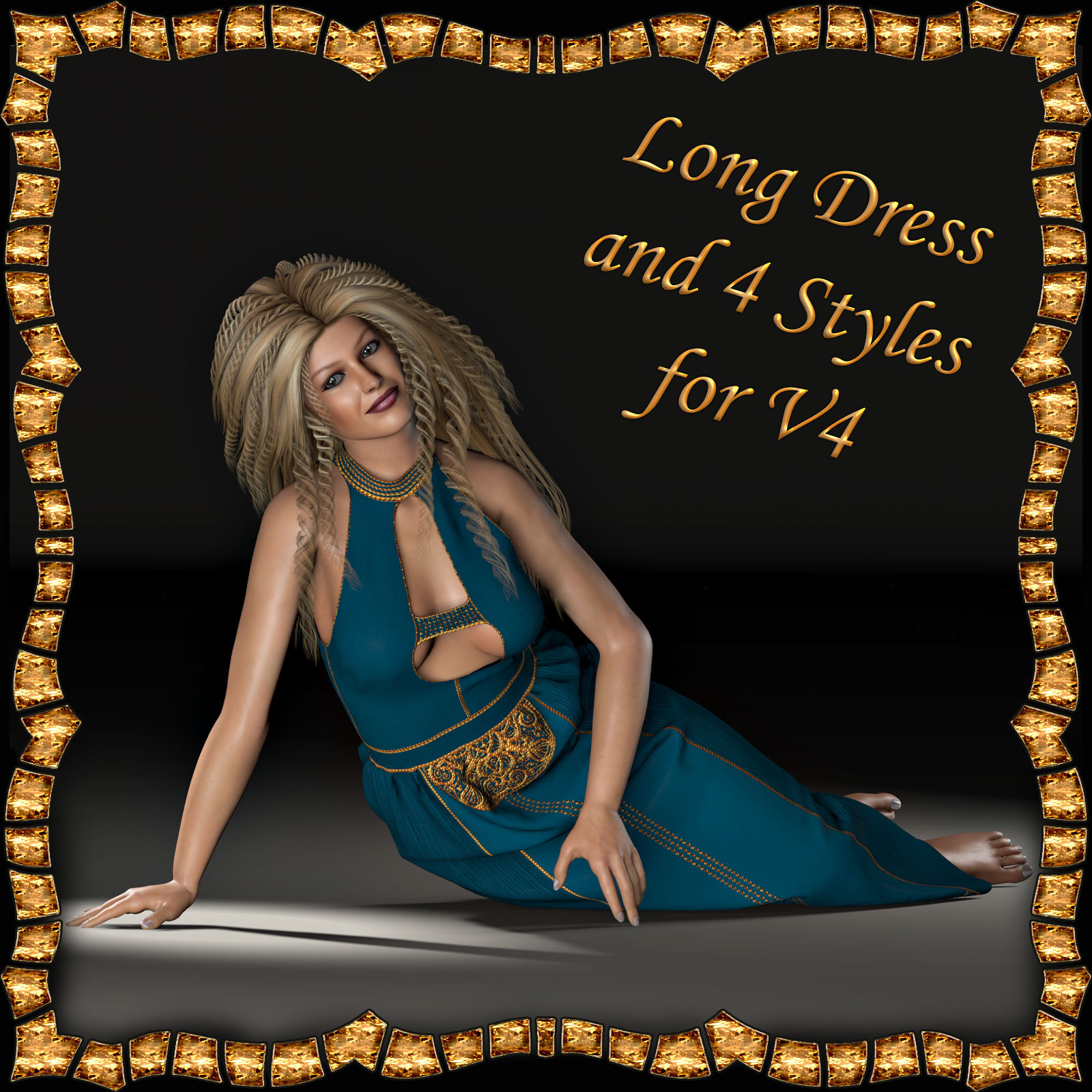 V4 Long Dress and 4 Styles for Poser