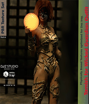 Tarnish for Wicked Guardian Outfit Texture set G3F 3D Figure Assets nelmi