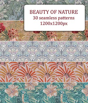 Beauty of Nature - Seamless patterns 2D Graphics Merchant Resources romawka