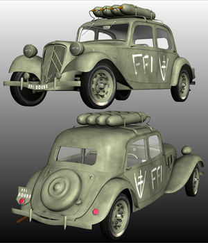 CITROEN TRACTION FFI for Poser  3D Models 3DClassics