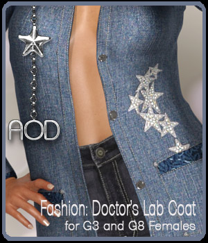 Fashion: Doctor's Lab Coat for G3 and G8 Females 3D Figure Assets ArtOfDreams