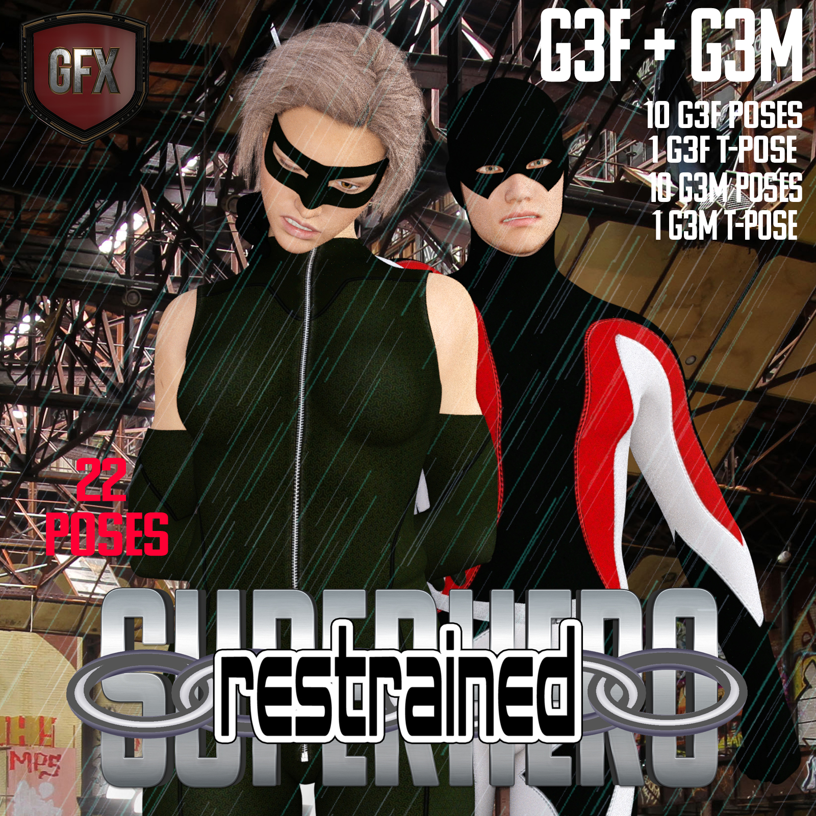 SuperHero Restrained for G3F and G3M Volume 1 by GriffinFX