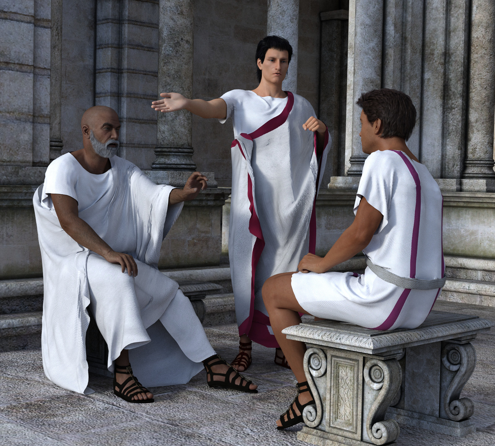 dForce Roman Toga and Tunic for Genesis 3 Male and Genesis 8 Male by Deacon215