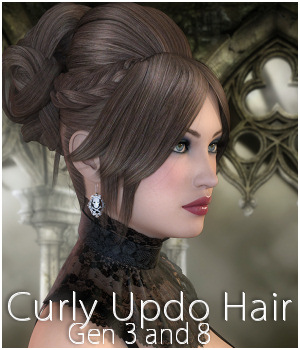 Curly Updo Hair for Genesis 3 and 8 females by RPublishing