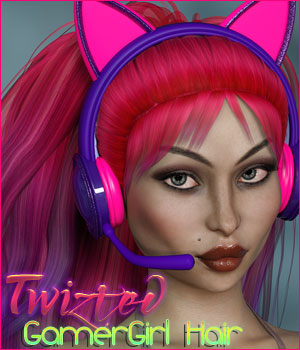 Twizted Gamer Girl Hair 3D Figure Assets TwiztedMetal