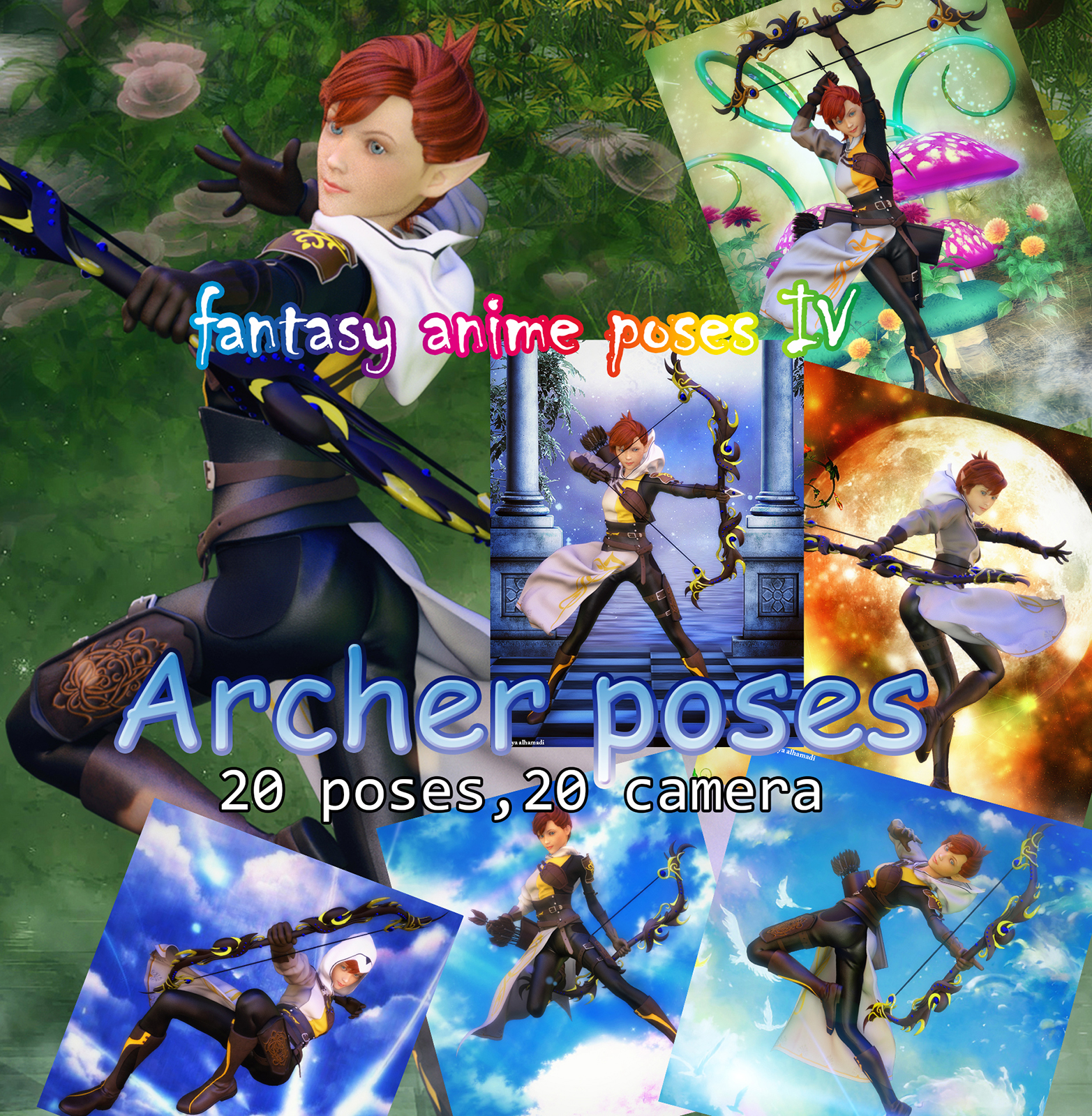 Fantasy Anime Poses IV _ Archer poses_ for G3