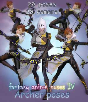Fantasy Anime Poses IV _ Archer poses_ for G3 3D Figure Assets muwawya