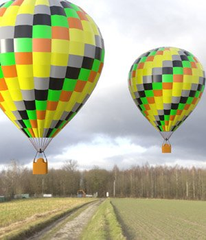 Hot Air Balloon 1 for DAZ Studio 3D Models Digimation_ModelBank
