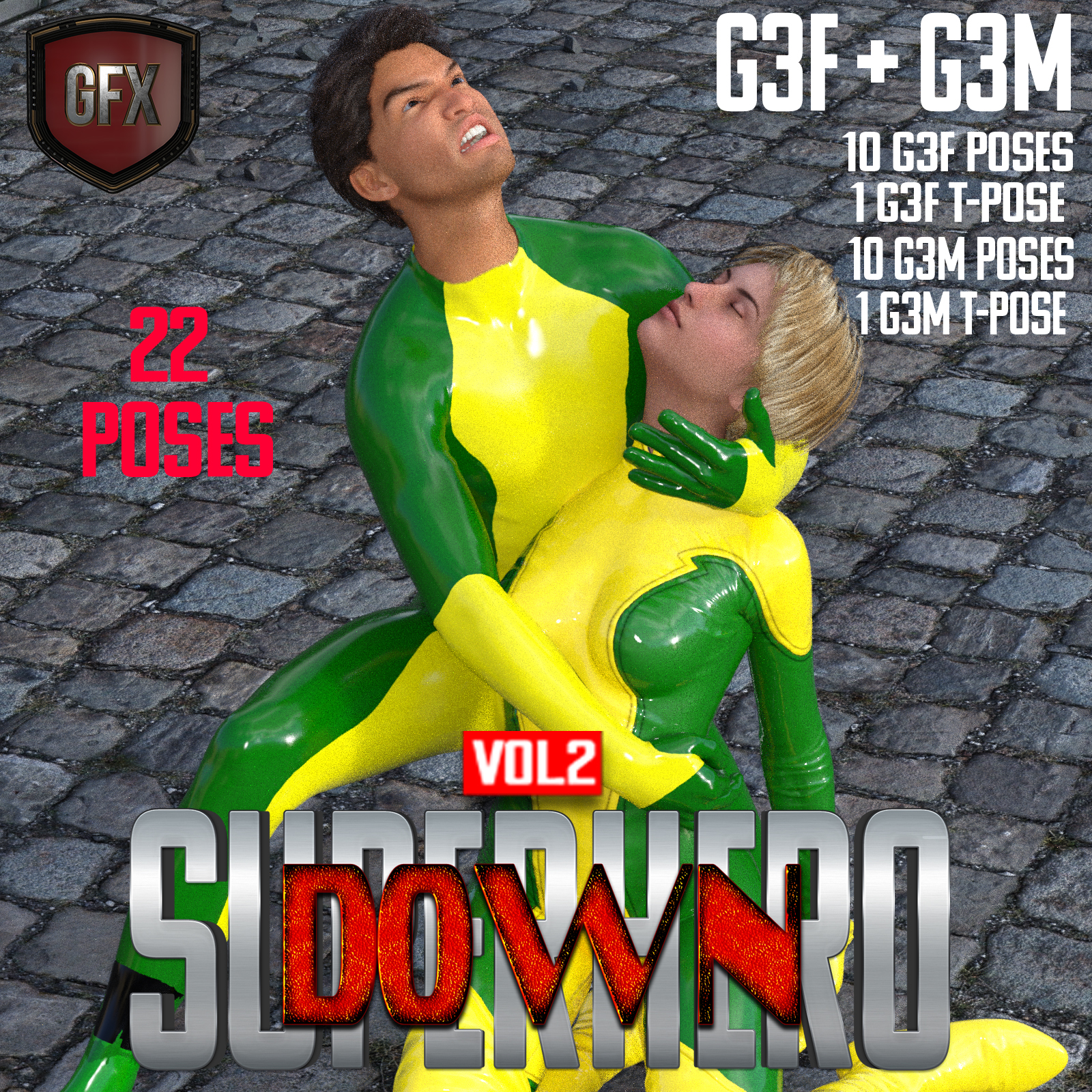 SuperHero Down for G3F and G3M Volume 2