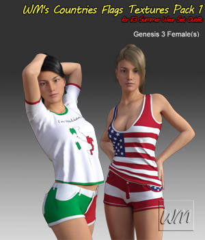 WM's Countries Flags Textures Pack 1  for i13 Summer Wear Set Outfit 3D Figure Assets WiwimaX