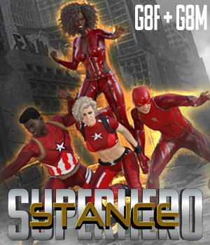 SuperHero Stance for G8F and G8M Volume 1 3D Figure Assets GriffinFX