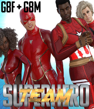 SuperHero Team for G8F and G8M Volume 1 3D Figure Assets GriffinFX