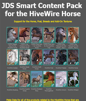JDS Smart Content Pack for the HiveWire Horse 3D Software : Poser : Daz Studio : iClone jdstrider