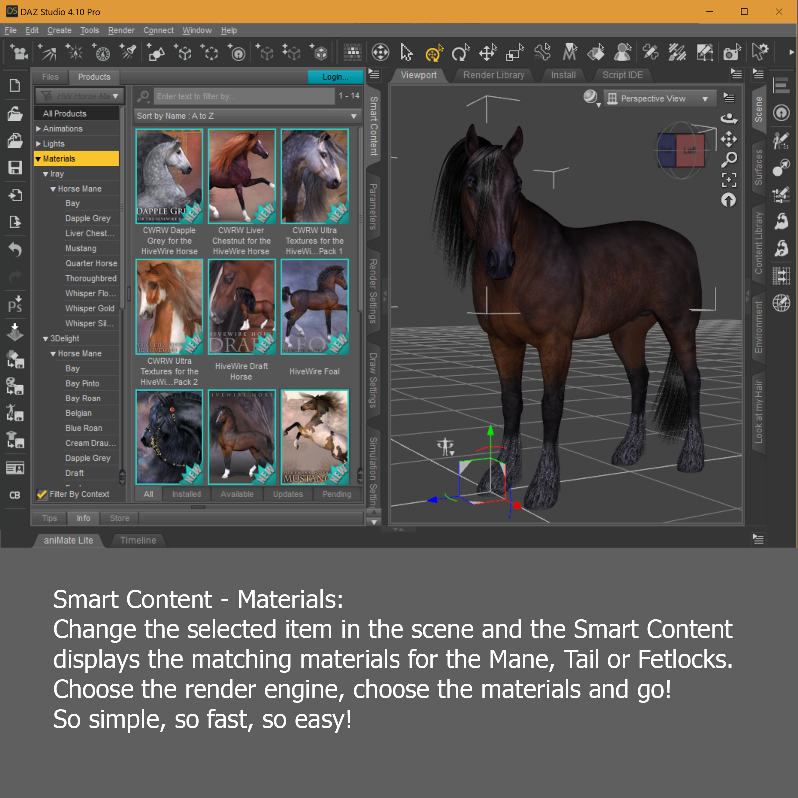 JDS Smart Content Pack for the HiveWire Horse 3D Software : Poser ...