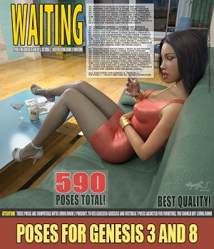 Waiting - Poses for G8, G3 and V7 3D Figure Assets hameleon