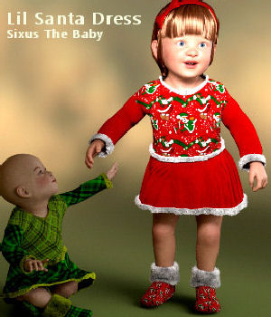Lil Santa Dress for Sixus1 The Baby G8F 3D Figure Assets Karth