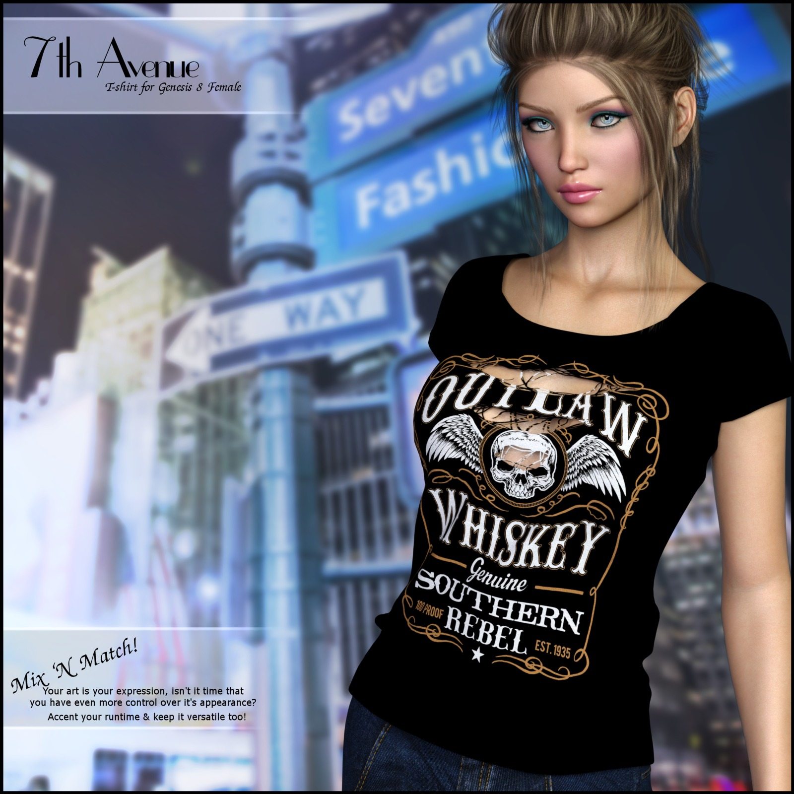7th Ave: T-Shirt for Genesis 8 Females by 3-DArena