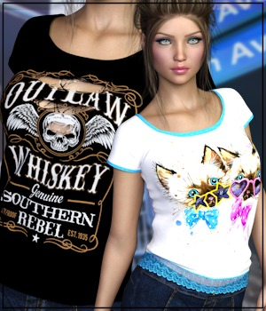 7th Ave: T-Shirt for Genesis 8 Females 3D Figure Assets 3-DArena