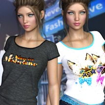 7th Ave: T-Shirt for Genesis 8 Females image 3