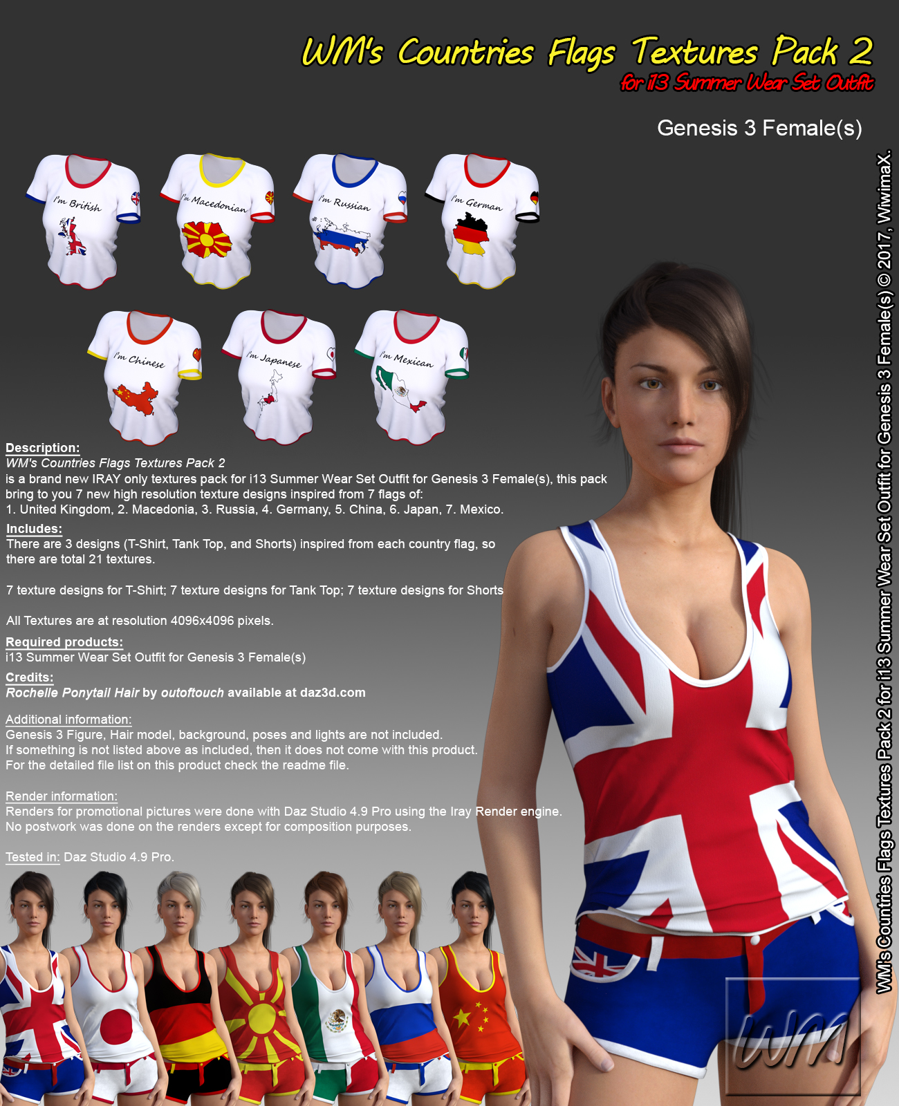 WM's Countries Flags Textures Pack 2 for i13 Summer Wear Set Outfit