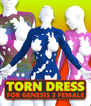 Torn Dress for G3 females 3D Figure Assets powerage