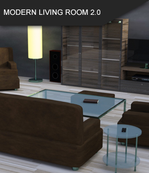 Modern Living Room 2.0 for Daz Studio 3D Models SF-Design