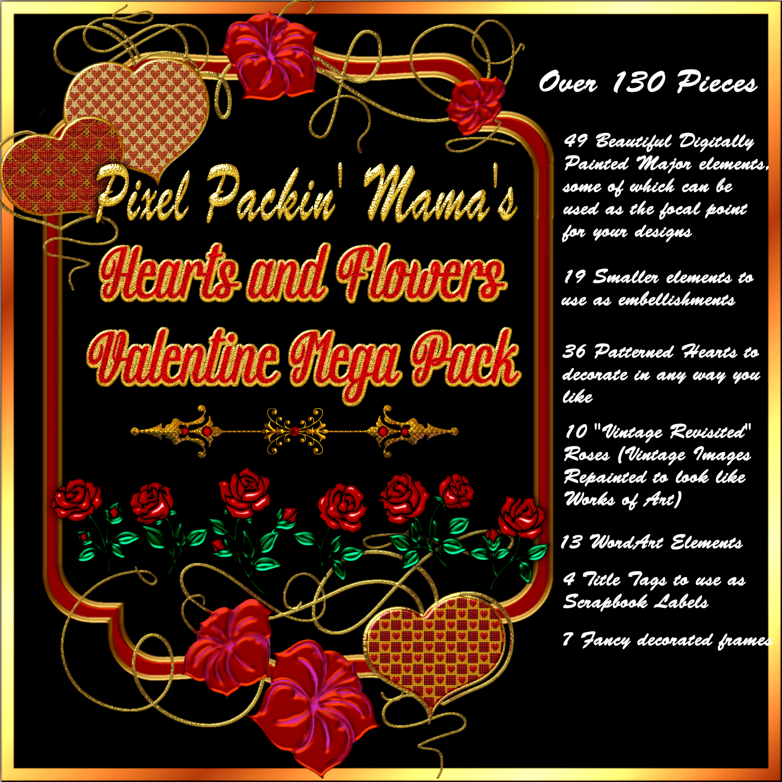 Pixel Packin Mamas Hearts and Flowers Valentine Mega Pack 2018