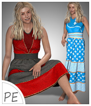 Summer Ruffle Dress and 7 Styles for Project Evolution - Poser 3D Figure Assets karanta