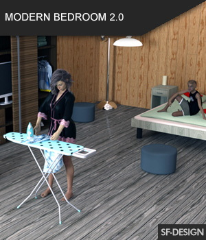 Modern Bedroom 2.0 for Daz Studio 3D Models SF-Design
