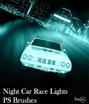 Night Car Race PS Brushes 2D Graphics biala