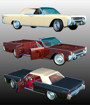 LINCOLN CONTINENTAL 1961  ( OBJ and FBX ) EXTENDED LICENSE 3D Game Models : OBJ : FBX 3D Models Extended Licenses 3DClassics