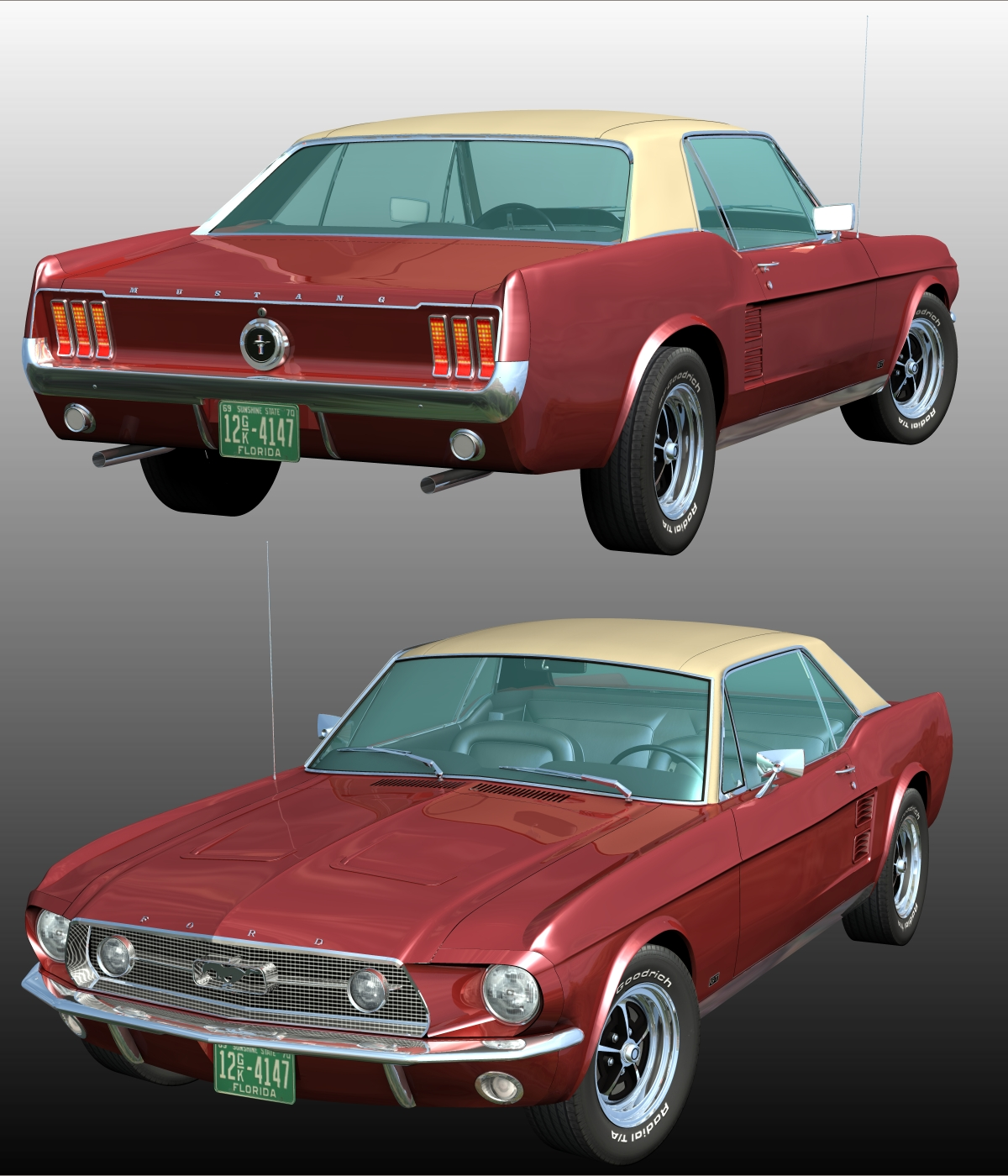 ford mustang gt 1967 for poser 3d models 3dclassics. Black Bedroom Furniture Sets. Home Design Ideas