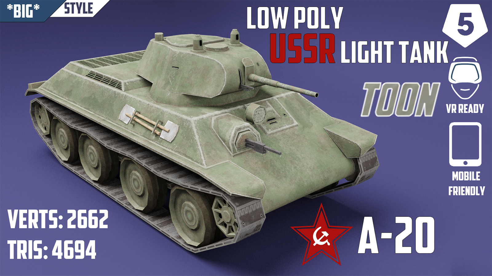 A-20 USSR Toon Tank - Extended License 3D Game Models