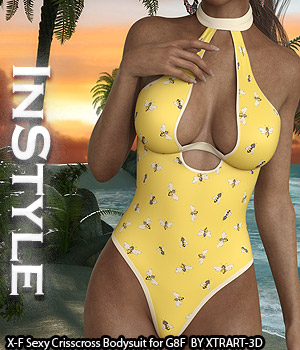 InStyle - X-Fashion Sexy Crisscross Bodysuit for G8F 3D Figure Assets -Valkyrie-