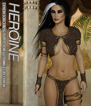 HEROINE - Exnem Sorceress Outfit for G3 Female 3D Figure Assets Anagord