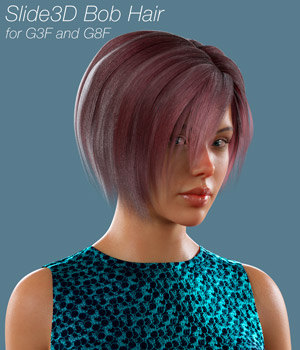 Slide3D Bob Hair for G3F and G8F 3D Figure Assets Slide3D