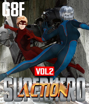 SuperHero Action for G8F Volume 2 3D Figure Assets GriffinFX