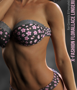 X-Fashion Floral Lace Lingerie for Genesis 8 Females 3D Figure Assets xtrart-3d